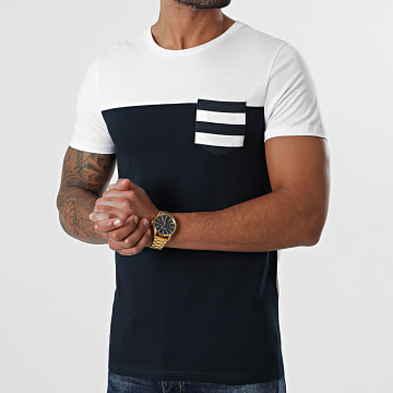 LBO - Tee Shirt Poche Bicolore 1087 Blanc Bleu Marine