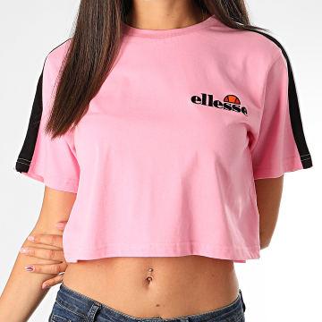 Ellesse - Tee Shirt Crop Femme A Bandes Amarillo SGF09281 Rose