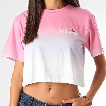 Ellesse - Tee Shirt Crop Femme Rerta Fade SGF09293 Blanc Rose Dégradé