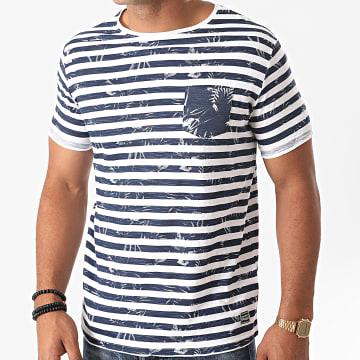 La Maison Blaggio - Tee Shirt Poche Massilia Blanc Bleu Marine