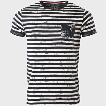 La Maison Blaggio - Tee Shirt Poche Massilia Bleu Marine Blanc