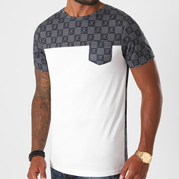 Final Club - Tee Shirt Damier Bicolore A Poche 422 Blanc Noir Gris
