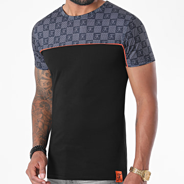 Final Club - Tee Shirt Damier Bicolore 423 Noir Orange