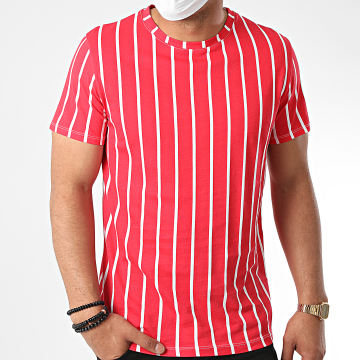 Aarhon - Tee Shirt A Rayures 92551 Rouge