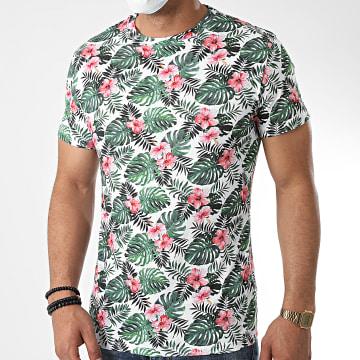 Aarhon - Tee Shirt Floral 92324 Blanc Vert Rose