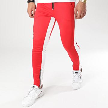 Aarhon - Pantalon Jogging A Bandes 23817 Rouge Blanc