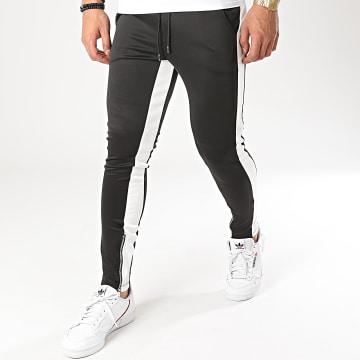Aarhon - Pantalon Jogging A Bandes 23817 Noir Blanc