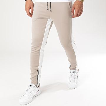 Aarhon - Pantalon Jogging A Bandes 23817 Beige Blanc