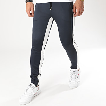 Aarhon - Pantalon Jogging A Bandes 23817 Bleu Marine Blanc