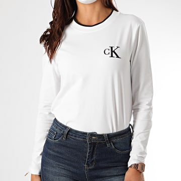 Calvin Klein - Tee Shirt Manches Longues Femme CK Embroidery Tippin 4459 Blanc