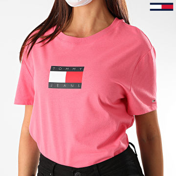 Tommy Jeans - Tee Shirt Femme Tommy Flag 8471 Rose Fushia