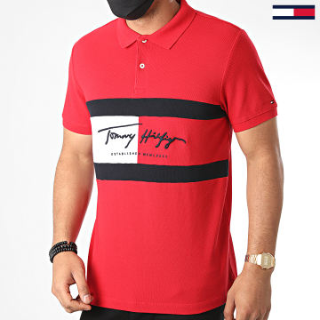Tommy Hilfiger - Polo Manches Courtes Slim Autograph Flag 4159 Rouge