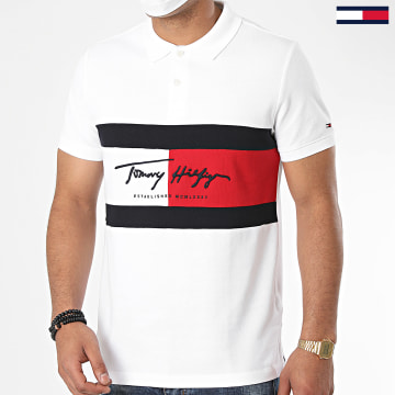 Tommy Hilfiger - Polo Manches Courtes Slim Autograph Flag 4159 Blanc