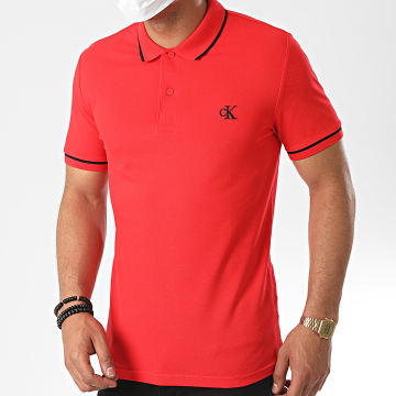 Calvin Klein - Polo Manches Courtes Slim Tipping 5603 Rouge