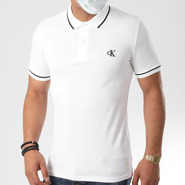 Calvin Klein - Polo Manches Courtes Slim Tipping 5603 Blanc