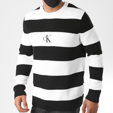 Calvin Klein - Pull A Rayures Striped Monogram 5621 Noir Blanc