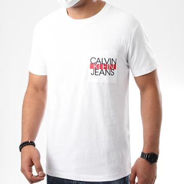 Calvin Klein - Tee Shirt Poche CKJ Colorblock 6047 Blanc