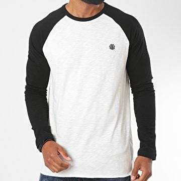Element - Tee Shirt Manches Longues Blunt Blanc Chiné Noir