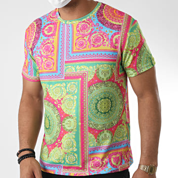 Frilivin - Tee Shirt 717523 Rose Vert Clair Renaissance Floral