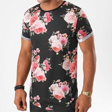 LBO - Tee Shirt Oversize Imprimé Avec Revers 1107 Noir Floral
