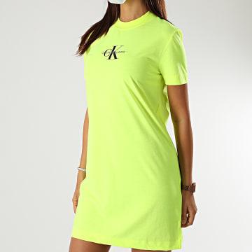 Calvin Klein - Robe Tee Shirt Femme Neon Center Monogram 5200 Jaune Fluo