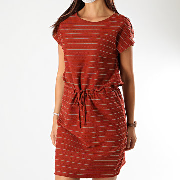 Only - Robe Femme A Rayures Millie Life Rouge Brique Doré