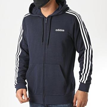 adidas - Sweat Zippé Capuche A Bandes Essential DU0471 Bleu Marine