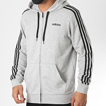 adidas - Sweat Zippé Capuche A Bandes Essential DU0473 Gris Chiné