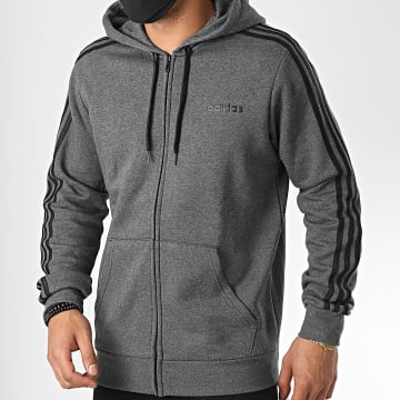 adidas - Sweat Zippé Capuche A Bandes Essential DX2528 Gris Anthracite Chiné