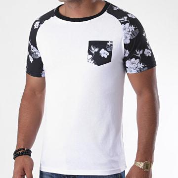 LBO - Tee Shirt Poche Raglan Floral 1108 Blanc Noir