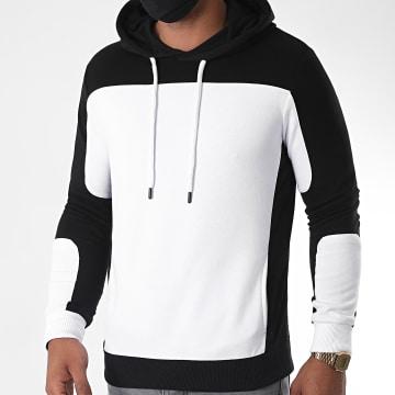 LBO - Sweat Capuche Avec Details Noir 1125 Blanc