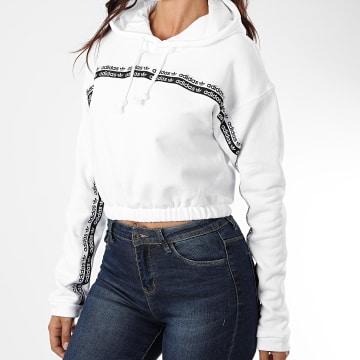 adidas - Sweat Capuche Crop Femme A Bandes FM2512 Blanc