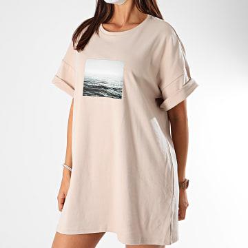 Sixth June - Robe Tee Shirt Femme W4136VTS Beige