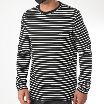 Calvin Klein - Tee Shirt Manches Longues A Rayures Liquid Stripe 5653 Noir Blanc