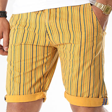 MTX - Short Chino A Rayures XH22103 Jaune Moutarde