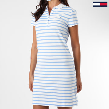 Tommy Hilfiger - Robe Polo Manches Courtes Femme A Rayures Slim Stripes 7856 Blanc Bleu Clair