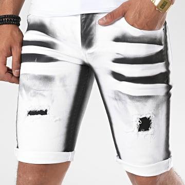 John H - Short Jean 9810 Blanc Noir