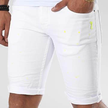 John H - Short Jean C9818 Blanc Vert Fluo