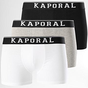 Kaporal - Lot De 3 Boxers Quad Noir Blanc Gris