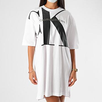 Calvin Klein - Robe Tee Shirt Femme Large CK Oversized 3829 Blanc