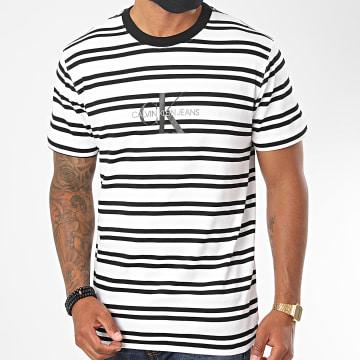 Calvin Klein - Tee Shirt A Rayures Striped Center CK Logo 5698 Blanc Noir