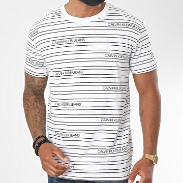 Calvin Klein - Tee Shirt A Rayures Stripe Logo AOP 6333 Blanc