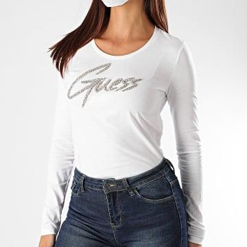 Guess - Tee Shirt Manches Longues Femme Strass W0YI65-JA900 Blanc Argenté