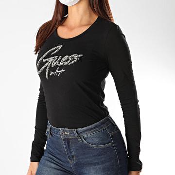 Guess - Tee Shirt Manches Longues Femme Strass W0YI65-JA900 Noir Argenté