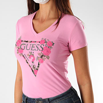 Guess - Tee Shirt Femme Col V Floral Strass W0YI85-J1300 Rose