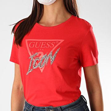 Guess - Tee Shirt Femme Strass W0YI32-I3Z00 Rouge Argenté
