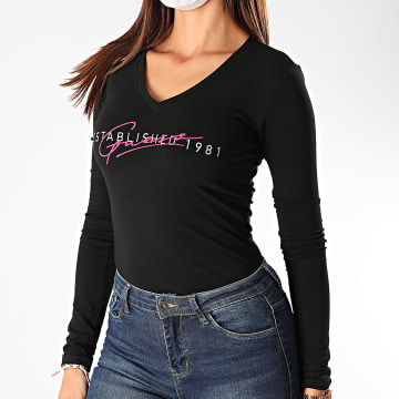 Guess - Tee Shirt Manches Longues Femme Col V Strass W0YI88-J1300 Noir