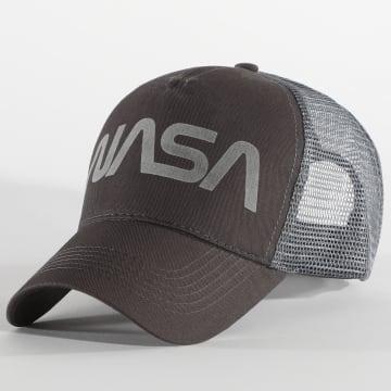 NASA - Casquette Trucker Worm Logo Gris Anthracite