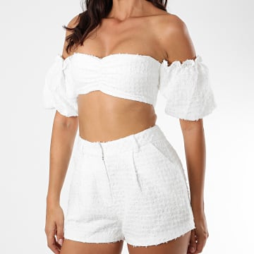 Sixth June - Ensemble Top Crop Short Femme W32543BSE Ecru