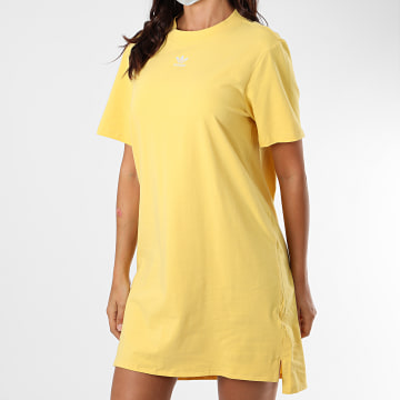 Adidas Originals - Robe Tee Shirt Femme Trefoil FM3277 Jaune
